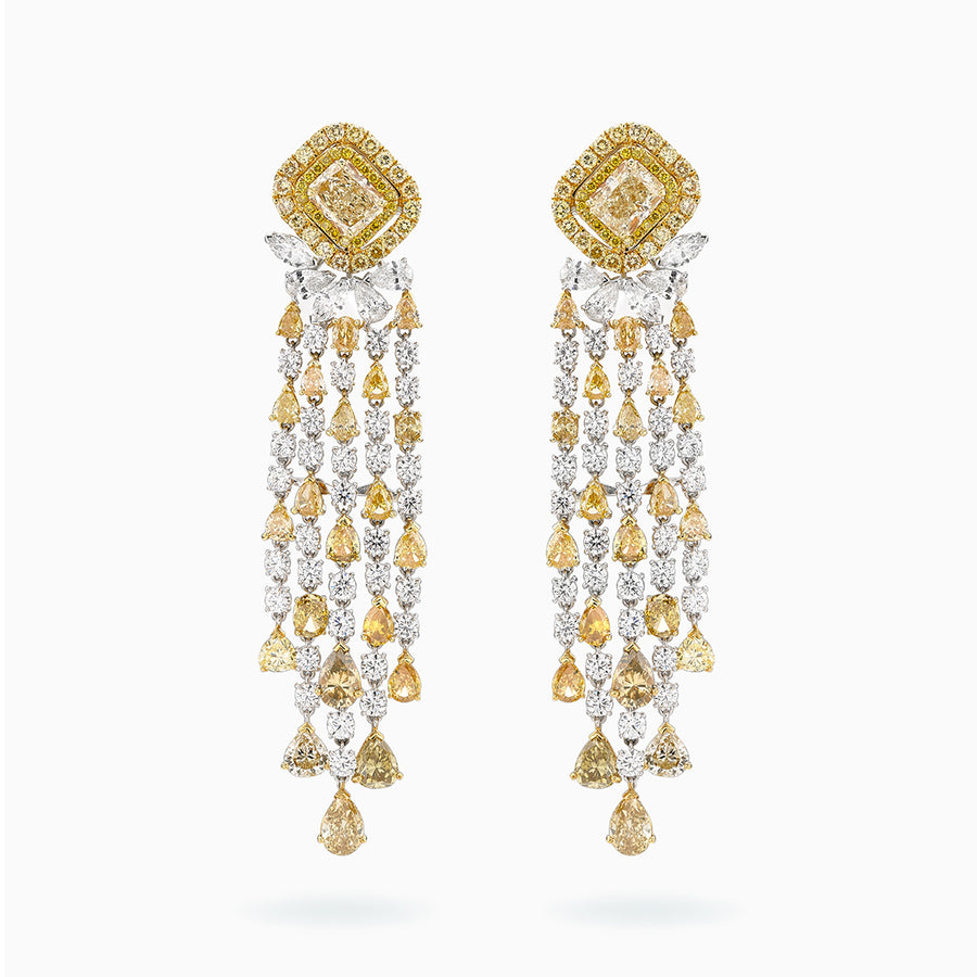 18K White & Yellow Gold Diamond Earrings
