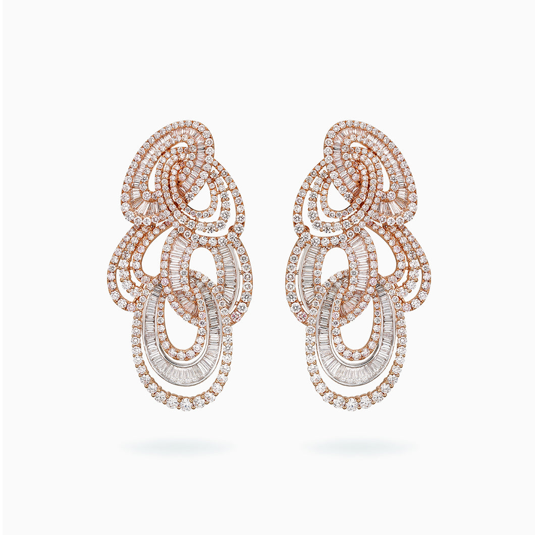 18K White & Rose Gold Diamond Earring
