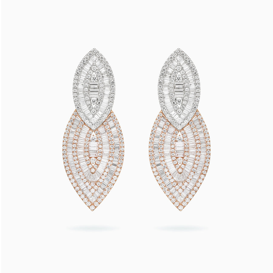 18K White & Rose Gold Diamond Earrings