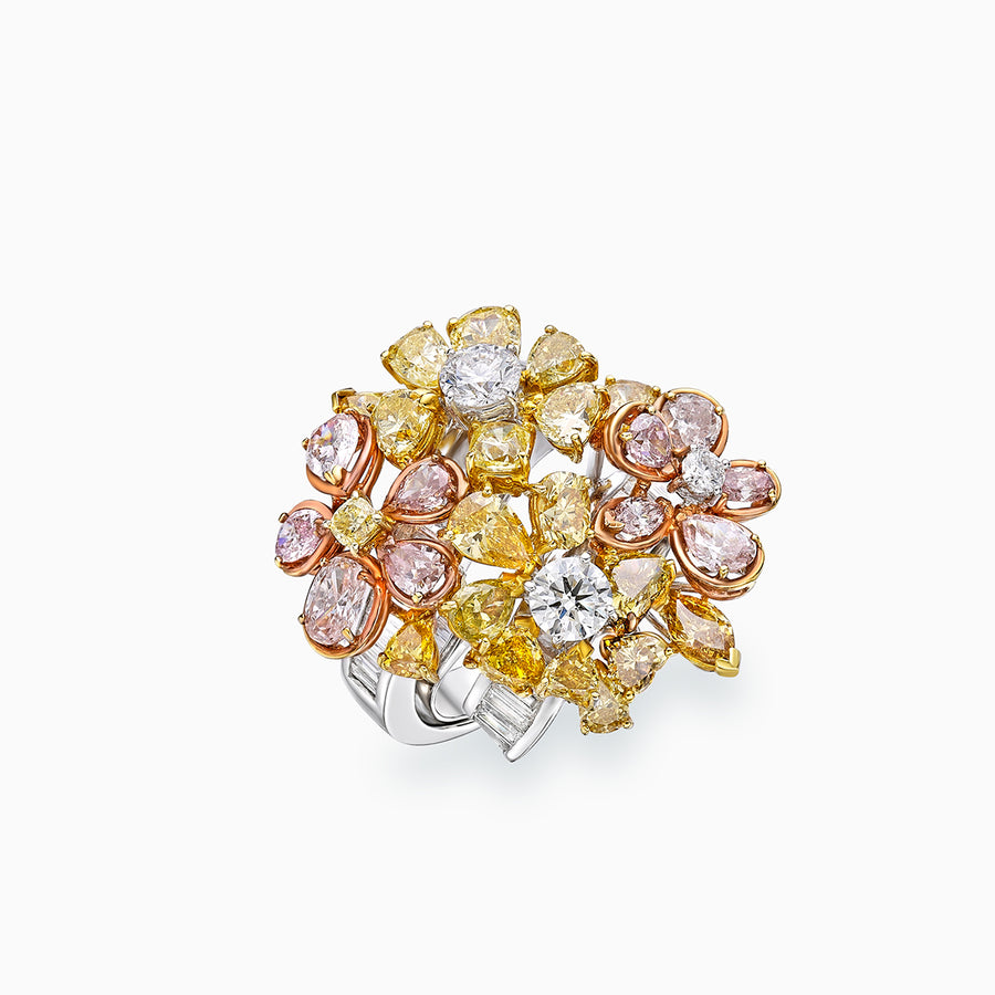 18K White & Yellow & Rose Gold Diamond Ring