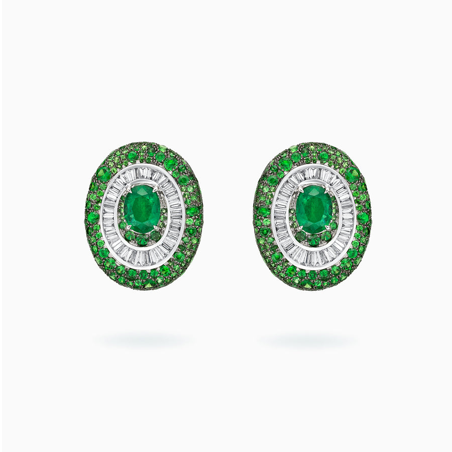 18K White & Black Gold Emerald & Diamond & Green Garnet Earrings