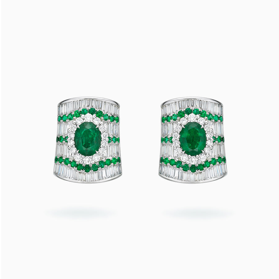 18K White Gold Emerald & Diamond Earrings
