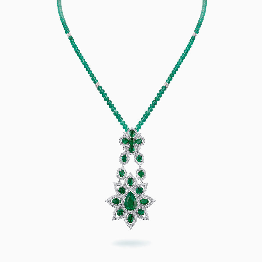 18K White Gold Emerald & Diamond Pendant