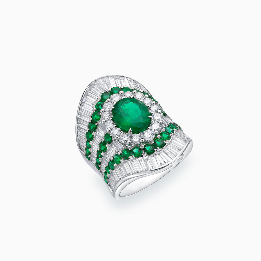 18K White Gold Emerald & Diamond Ring