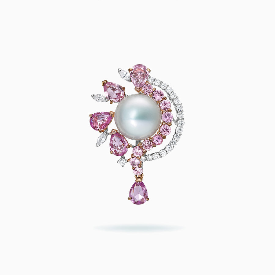 18K White & Rose Gold Fresh Water Pearl Brooch