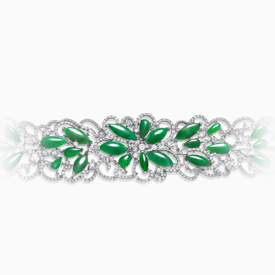 18K White Gold Green Jade & Diamond Bracelet