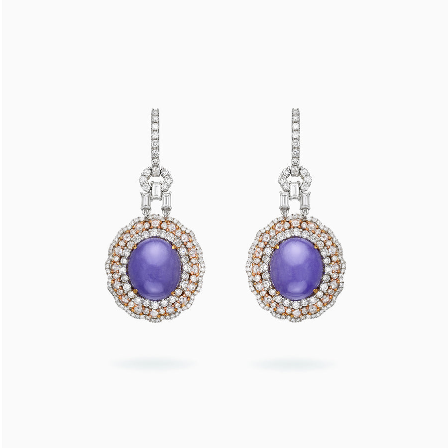 18K White & Rose Gold Lavender Jade & Diamond Earrings