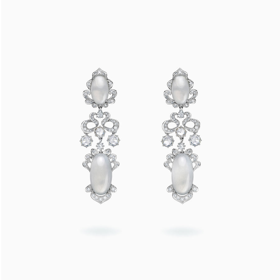 18K White Gold White Jade & Diamond Earrings