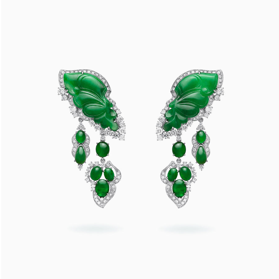 18K White Gold Green Jade & Diamond Earrings