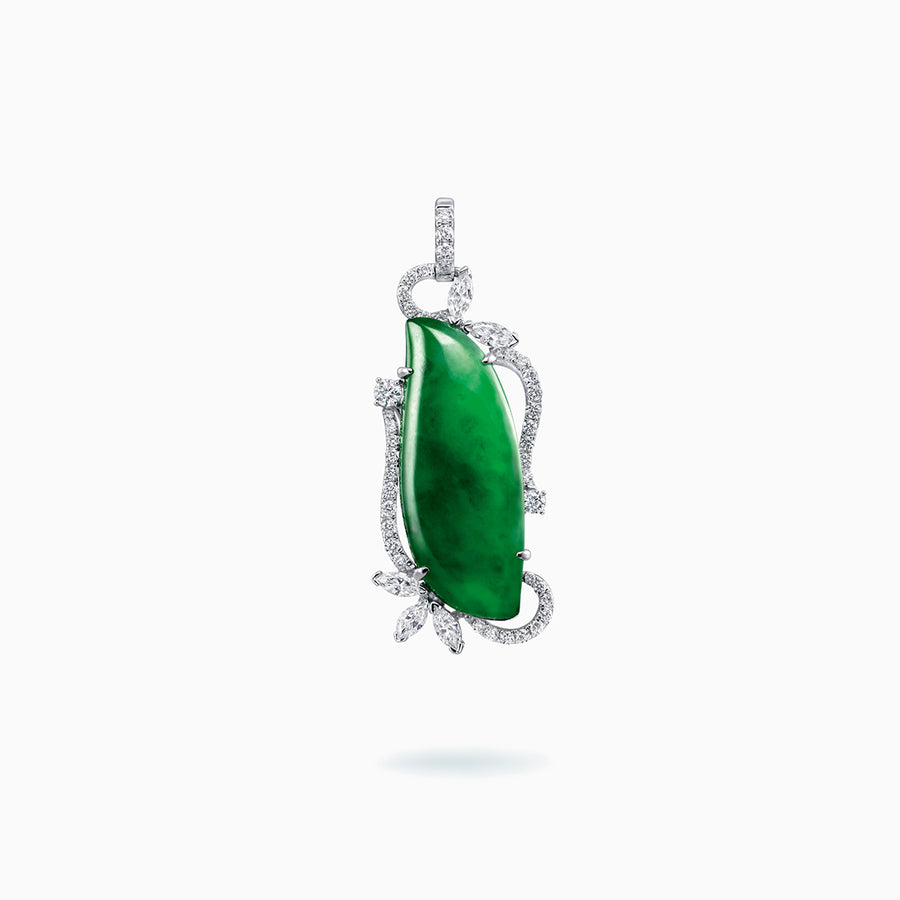 18K White Gold Green Jade & Diamond Pendant