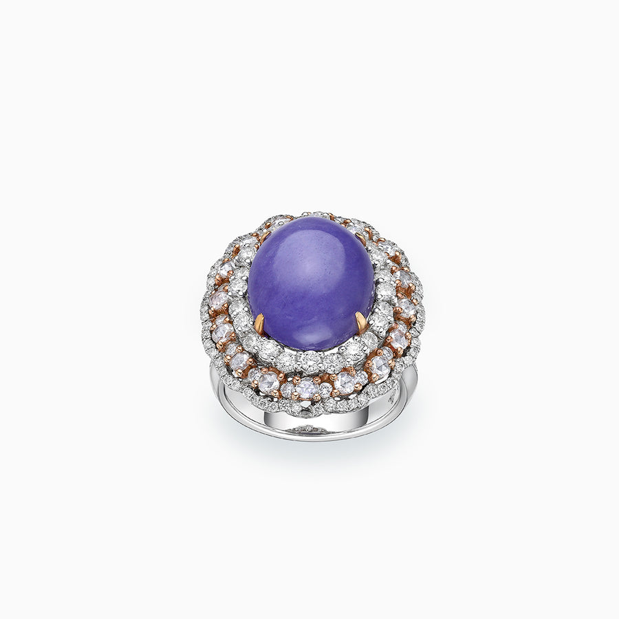 18K White & Rose Gold Lavender Jade & Diamond Ring