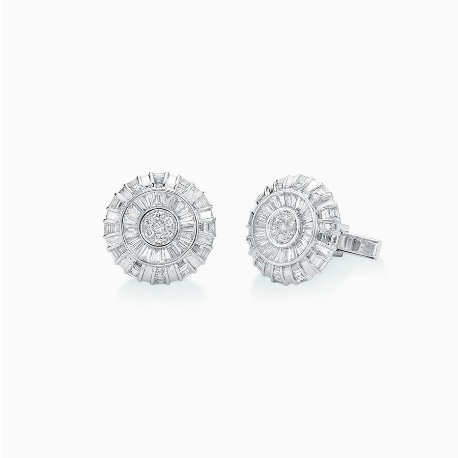 18K White Gold Diamond Cufflinks