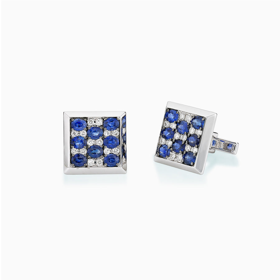 18K White & Black Gold Sapphire & Diamond Cufflinks