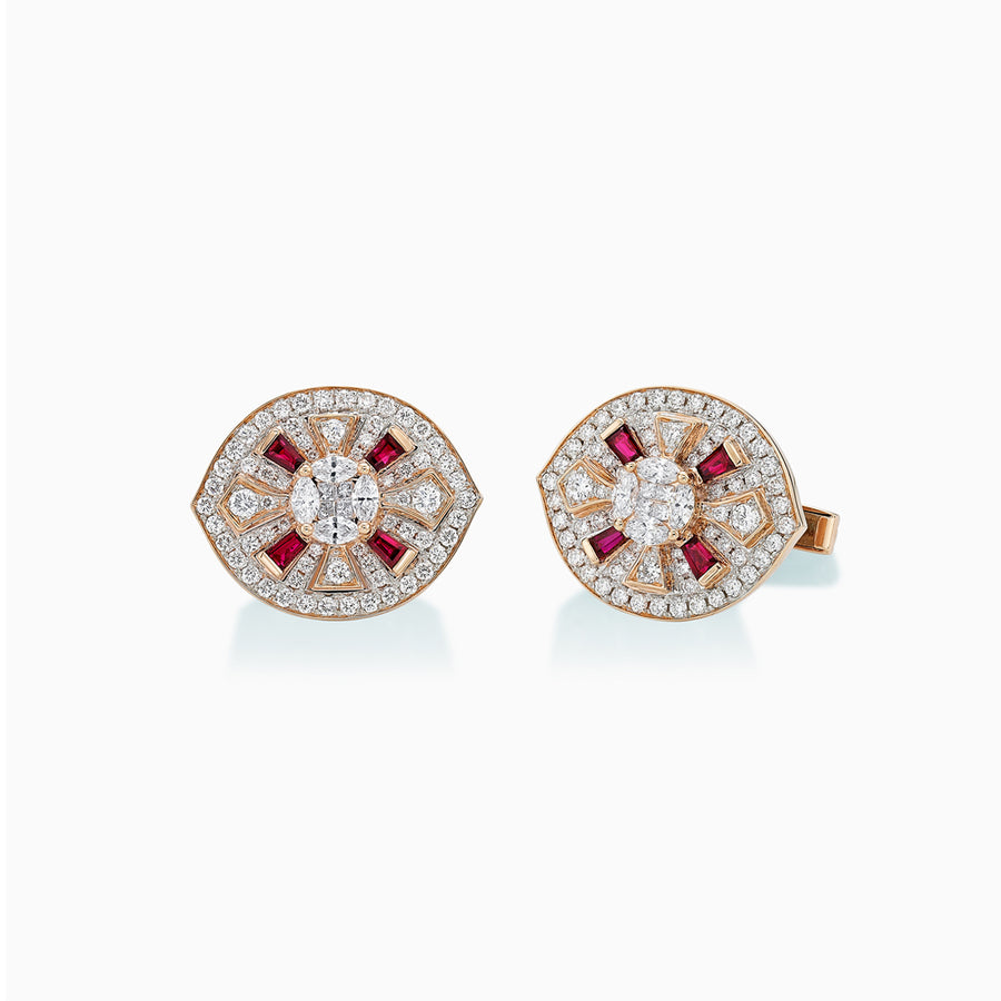 18K White & Rose Gold Ruby & Diamond Cufflinks