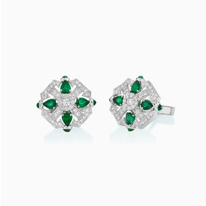 18K White Gold Emerald & Diamond Cufflink MSMC812