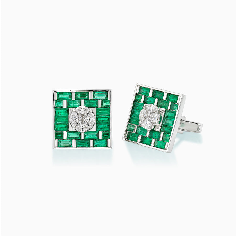 18K White Gold Emerald & Diamond Cufflinks