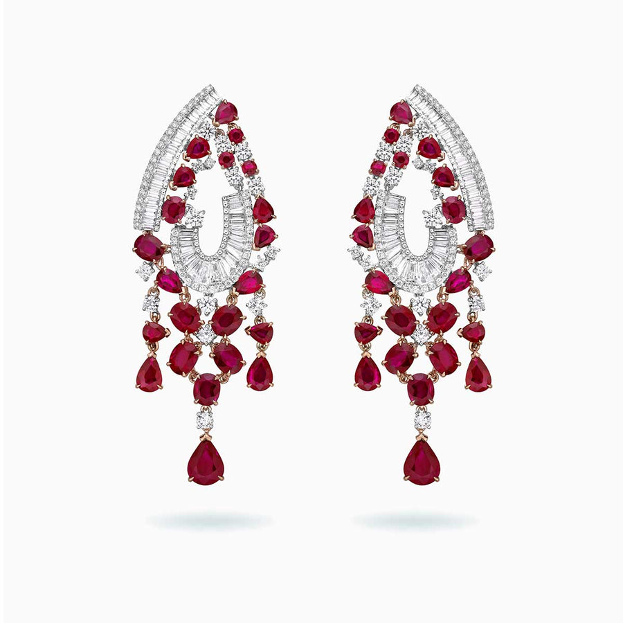 18K White & Rose Gold Ruby & Diamond Earrings