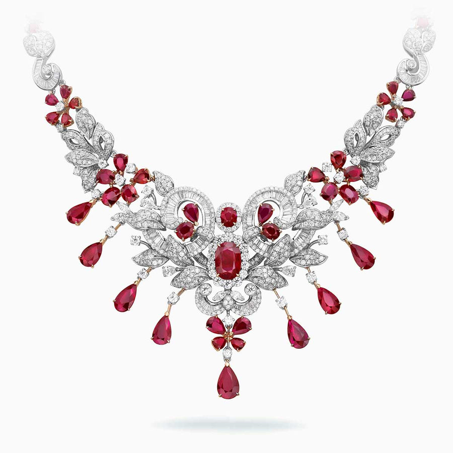 18K White & Rose Gold Ruby & Diamond Necklace