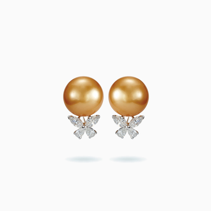 18K White Golden Gold South Sea Pearl Earrings