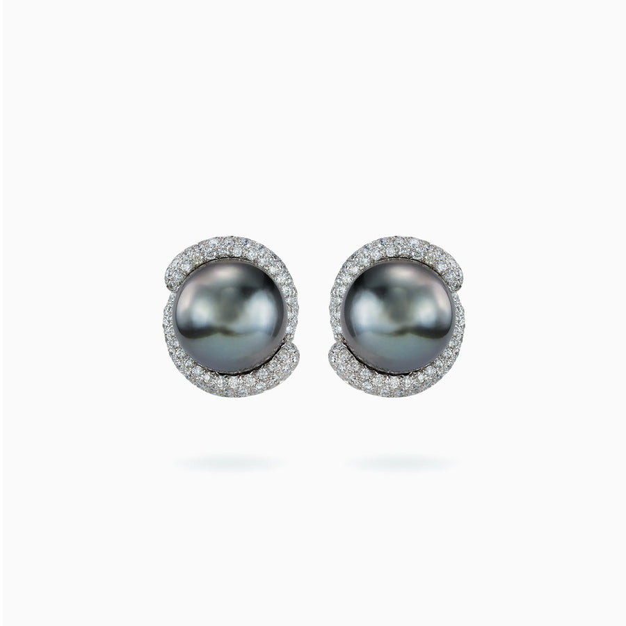 18K White Gold Black South Sea Pearl Earrings