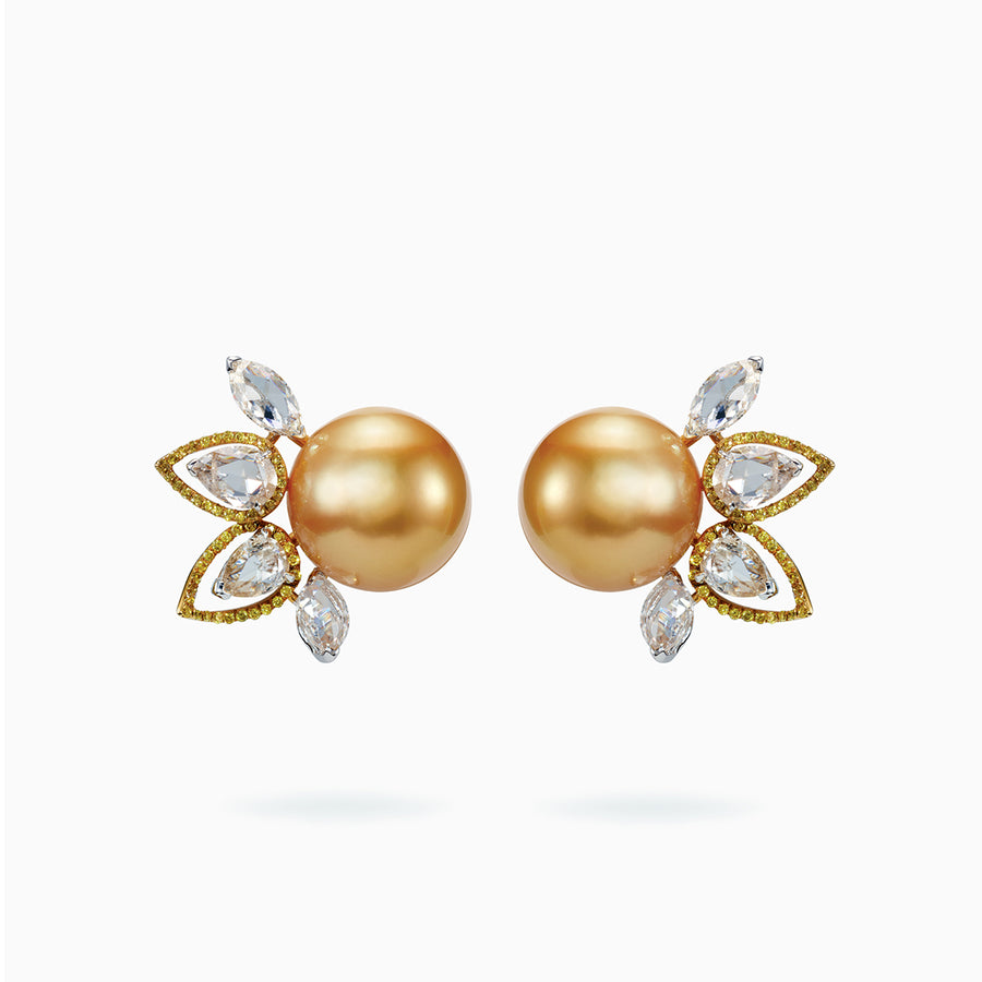 18K White & Yellow Gold Golden South Sea Pearl Earrings