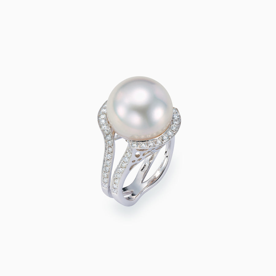 18K White Gold White South Sea Pearl Ring