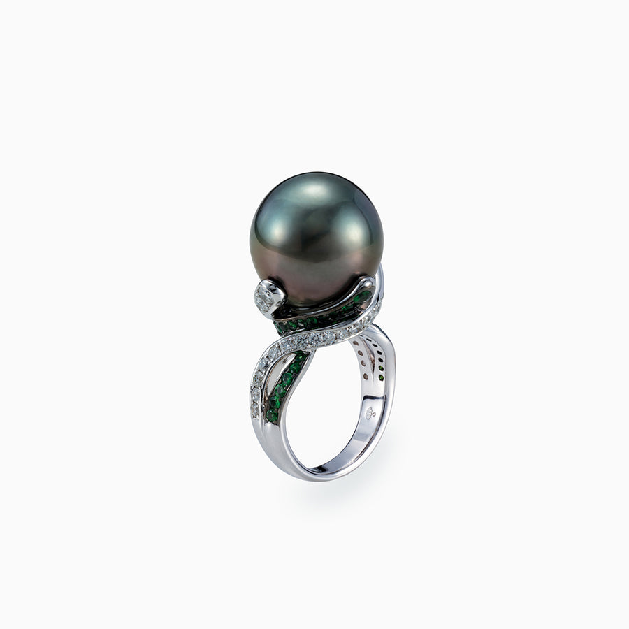 18K White & Black Gold Black South Sea Pearl Ring