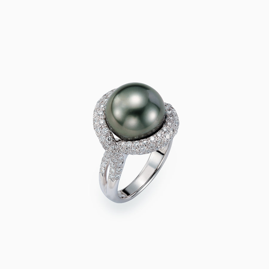 18K White Gold Black South Sea Pearl Ring
