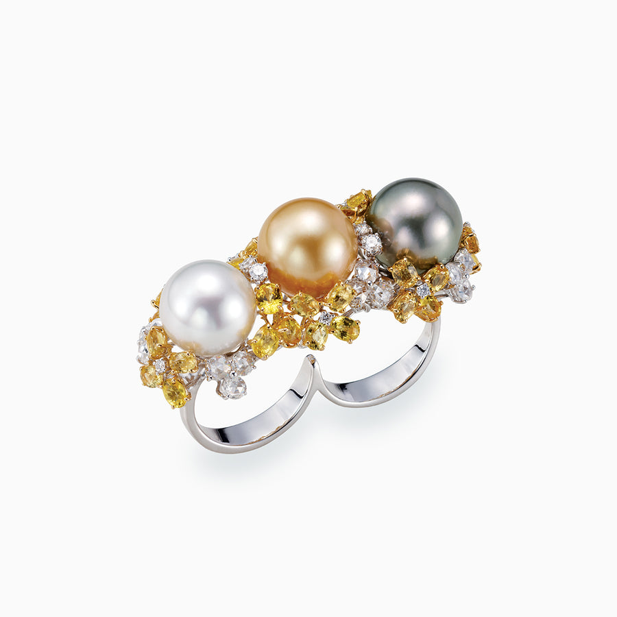 18K White & Yellow Gold Golden Multi Color South Sea Pearl Ring