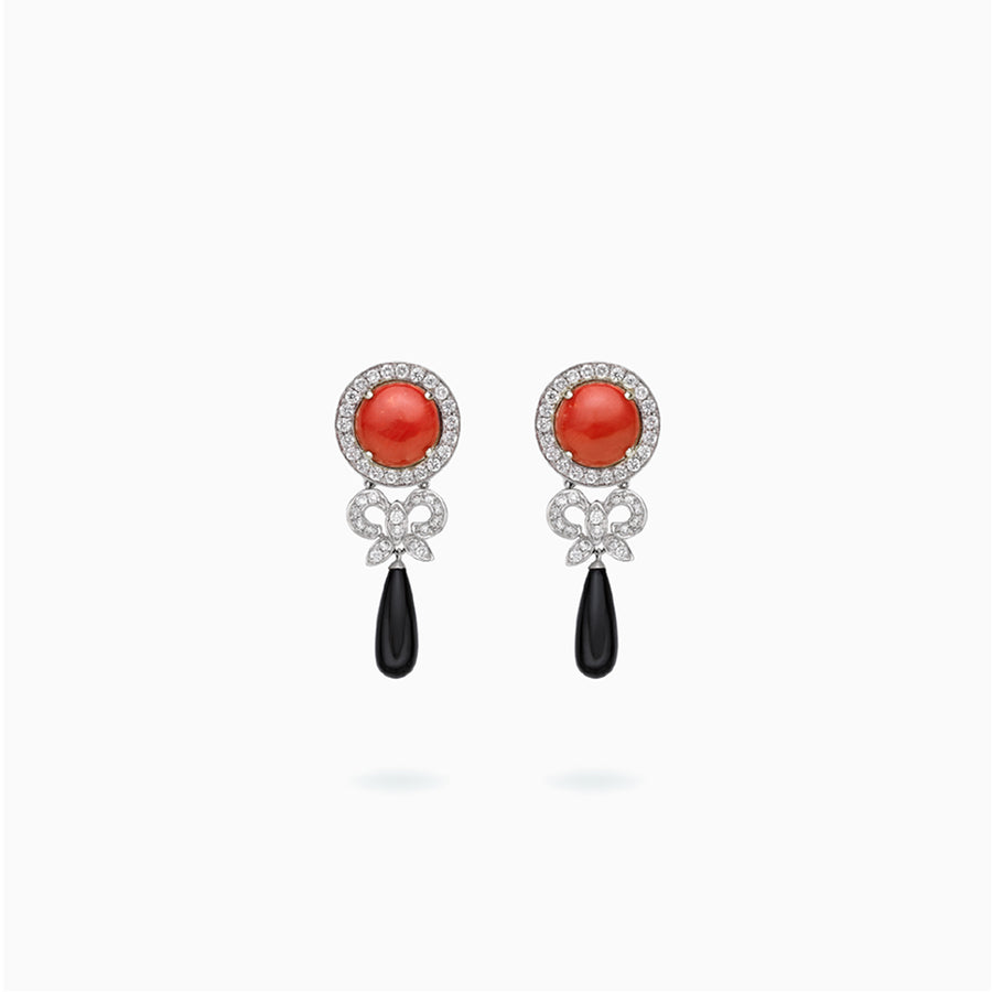 18K White Gold Coral Onyx Earrings