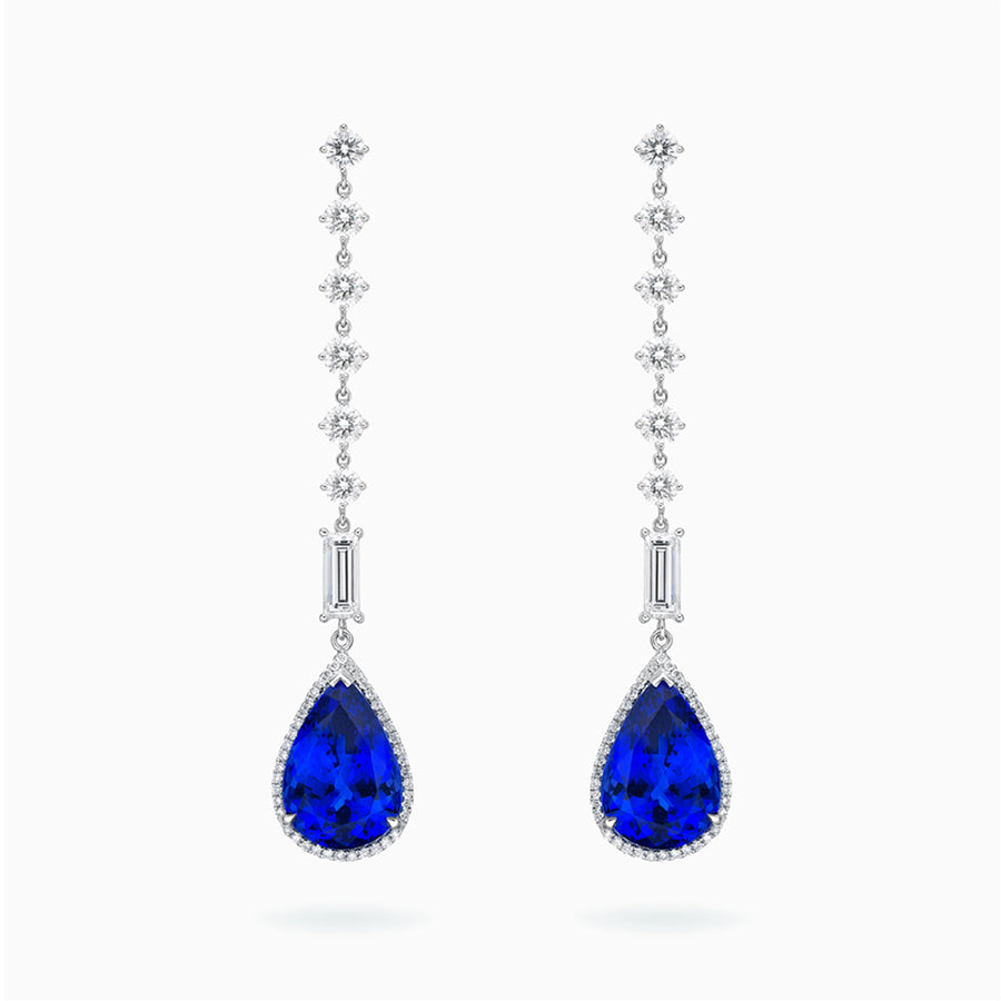 18K White Gold Tanzanite Earrings