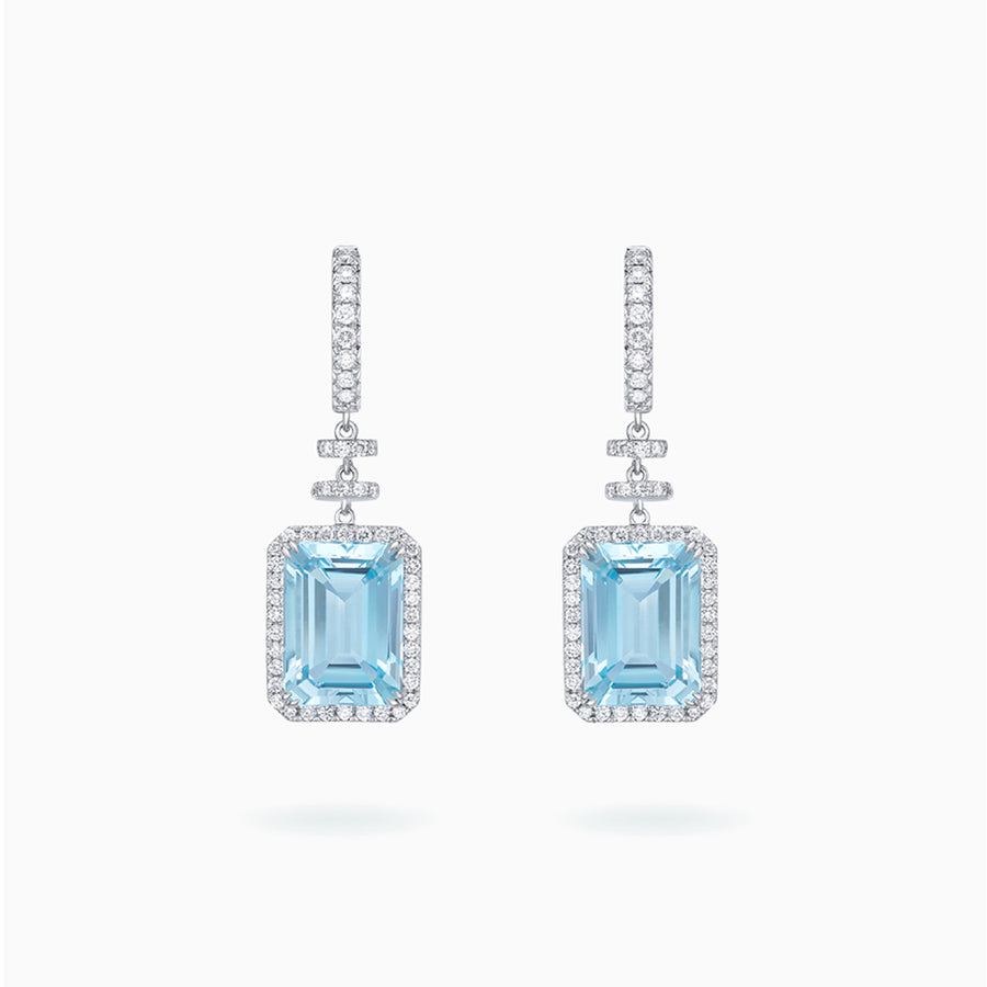 18K White Gold Topaz Earrings