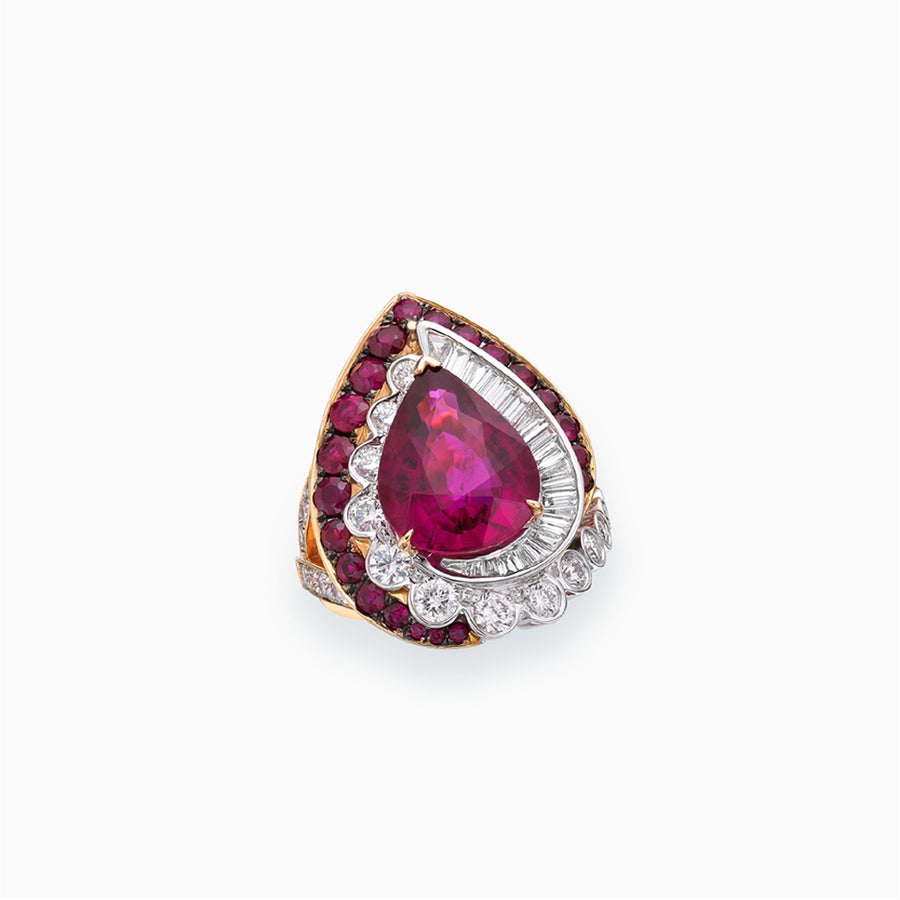 18K White, Rose & Black Gold Rubellite Ring