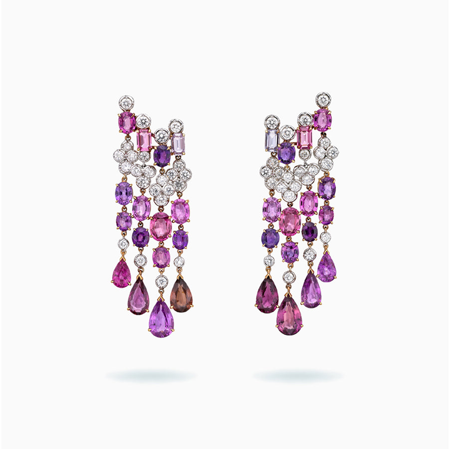 18K White & Rose Gold Fancy Color Sapphire Earrings
