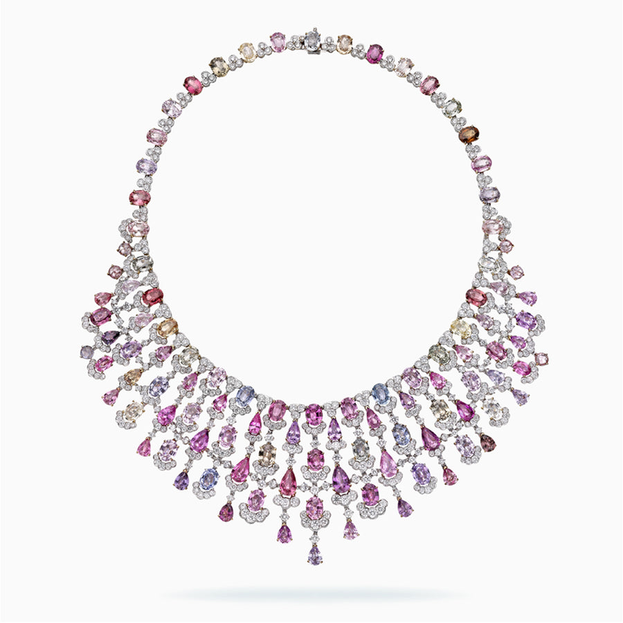 18K White, Rose & Yellow Gold Fancy Color Sapphire Necklace