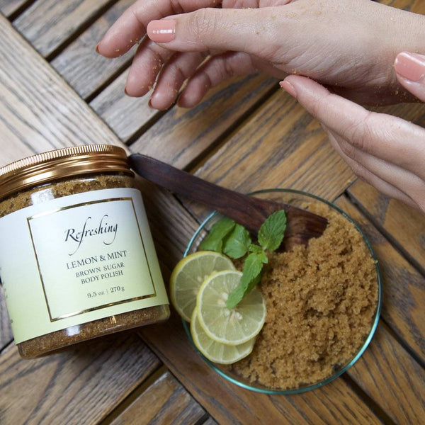 Refreshing Lemon & Mint Brown cane Sugar Polish Body Scrub