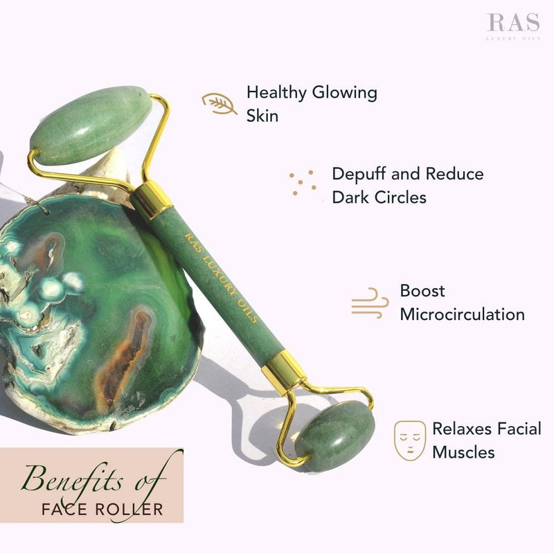 Face Roller Lover Duo: Rose Quartz Face Roller & Jade Face Roller