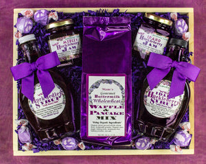Large, beatifully packaged with bows and purple foil, hucklberry break pine gift tray.