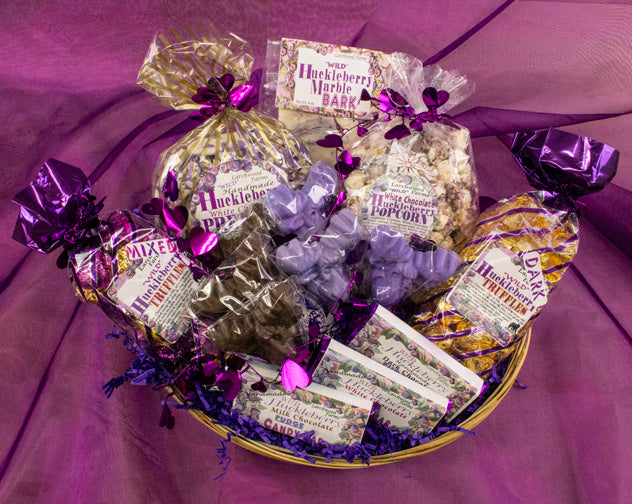 Bountiful basket of hucklberry chocolate delicacies beautifully arranged by Larchwood Farms