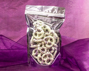 Absolutely Divine Chocolate Covered Pretzels with Huckleberry Drizzle in a Beautiful Gift Bag - 7 oz of Heavenly Goodness