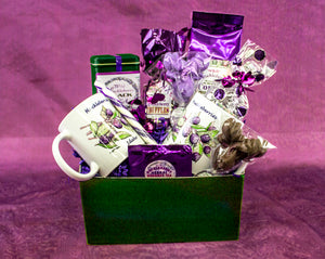 Huckleberry heaven in a mug and some to go with it too. Beautifully arranged hucklberry drink and confection gift basket by Larchwood Farms.