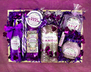 Hand crafted and beautifully arranged in a pine tray - a huckleberry lover will delight in a blissful spa experience.