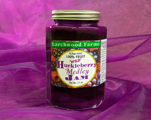 No sugar added, wild, organic huckleberry - marion berry - raspberry jam - an amazingly delicious trio sweetened with organic fruit concentrate.