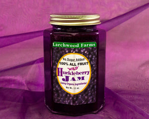 Small batch, wild, sustainably harvested, organic ingredient huckleberry jam - 11 ounces of huckleberry goodness hand crafted by the Larchwood Farms family
