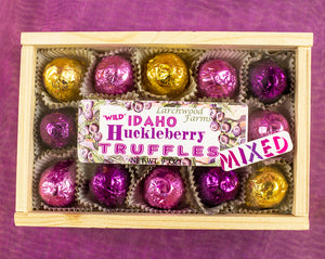 Chocolate Huckleberry Gourmet Truffles in Fine Pine Box