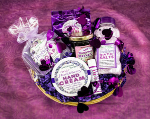 Beautifully arranged, handmade blissful delight of hucklberry body products.