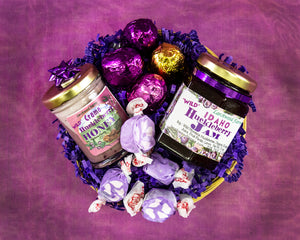 Give the gift of rich flavor in a hand crafted, beautifully arranged hucklberry gift basket.