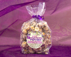 Huckleberry Delicacy! Delight your family with  Larchwood Farms Huckleberry Chocolate Drizzle Butter Popcorn - a flavor experience for the heart strings!
