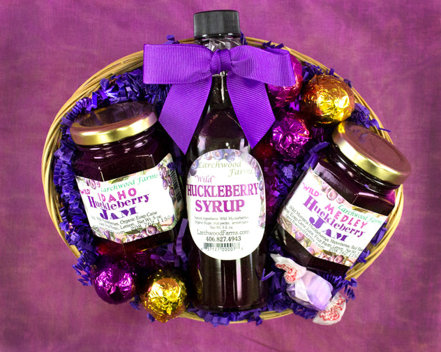 The best of authentic huckleberry flavor for the huckleberry conniseur in a beautifully arranged gift basket.