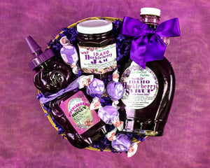 Beautifully arranged wild, all natural, handcrafted huckleberry delicaciesby Larchwood Farms